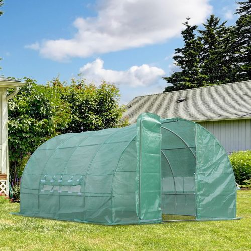 Frame Steel Greenhouse Polytunnel With Door And Window - 4x3M