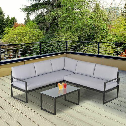 3 Seater Garden Corner Sofa Set With Table Grey Colour - 3Pcs