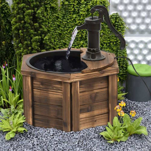 Vintage Style Wooden Ornament Electric Water Fountain With Hand Pump