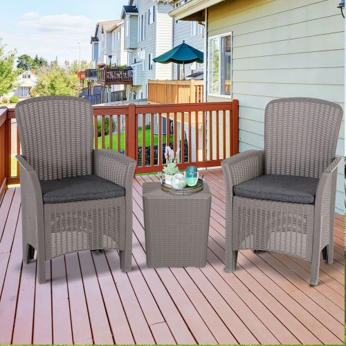 Rattan Wicker Weave Table Chairs Set - Grey
