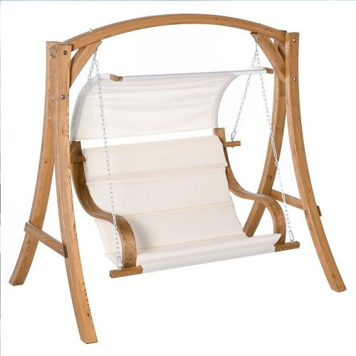Swing Chair Wooden Frame with Canopy - Teak/Cream