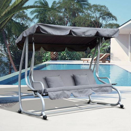 Adjustable 3 Seaters Swing Bed With Backrest - Grey