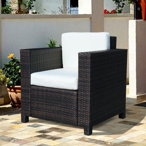 Rattan Wicker Single Cube Chair - Brown