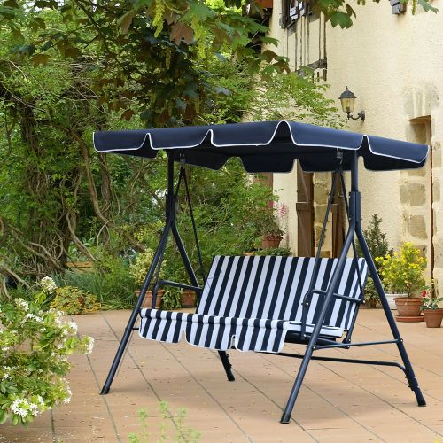 3 Seater Garden Swing With Adjustable Canopy - Blue Stripe