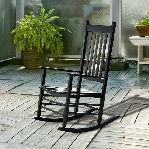 Wooden Garden Rocking Chair - Black
