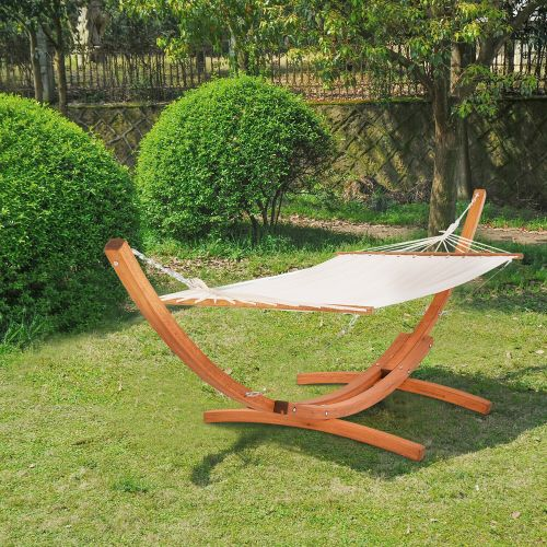 Wooden Frame Hammock With Arc Stand
