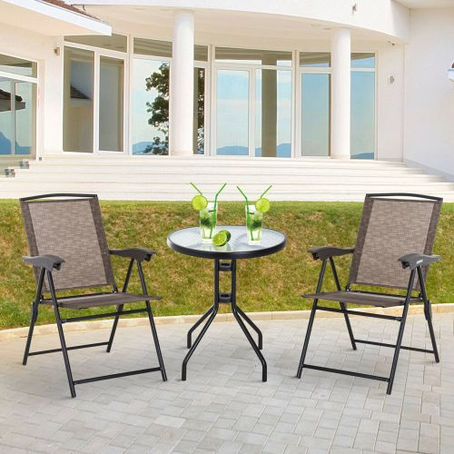 Foldable Rattan Bistro Garden Table Chairs Set With Armrest - Brown