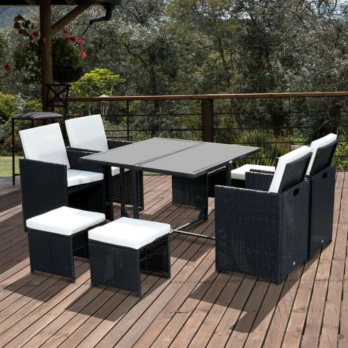 9PCs Rattan Wicker Garden Table Chairs Set With Footstool - Black