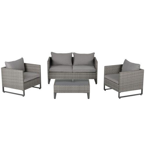 PE Rattan Wicker 4 PCs Chairs Table Set - Grey