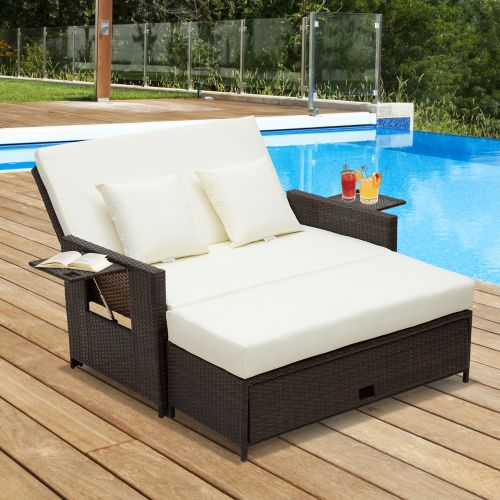 2 Seater Adjustable Rattan Daybed - Brown