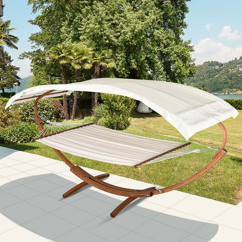 Double Hammock Wooden Bed with Canopy