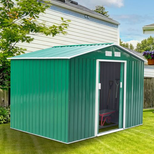 Metal Frame Garden Shed Green Colour - 9x6FT