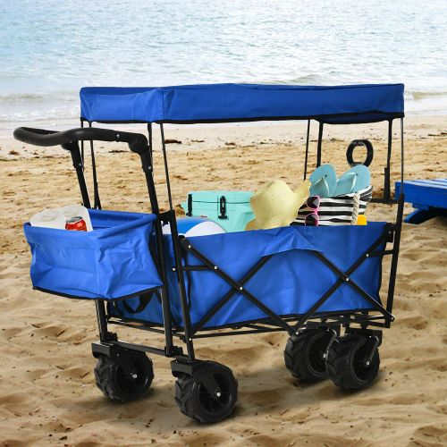 Foldable Pull Wagon Trolley With Canopy - Blue