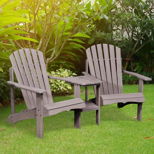 Adirondack Wooden Double Chair With Center Table - Grey
