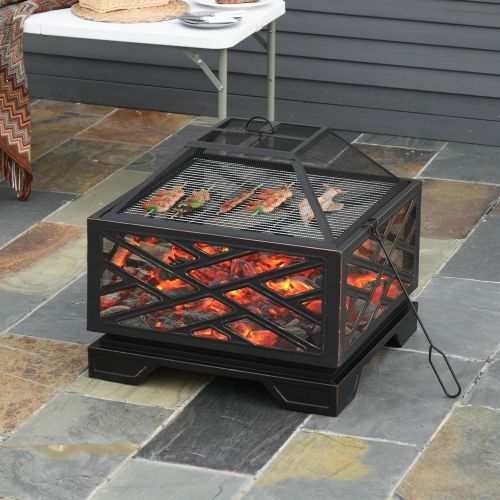 Metal Brazier Square Fire Pit With Grill Net Mesh Cover - 66cm