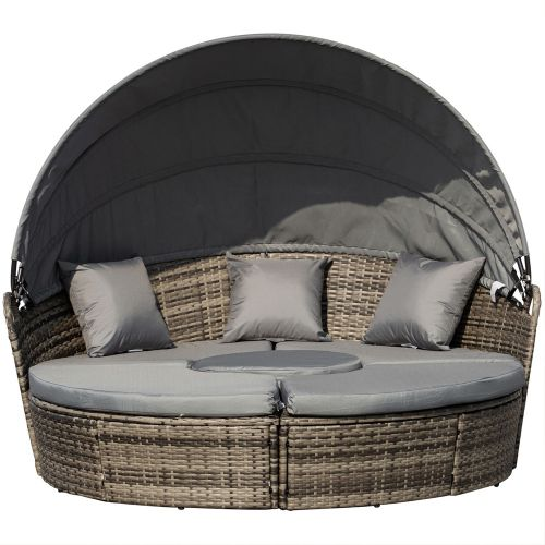 5 PCs Rattan Round Daybed With Table - Grey