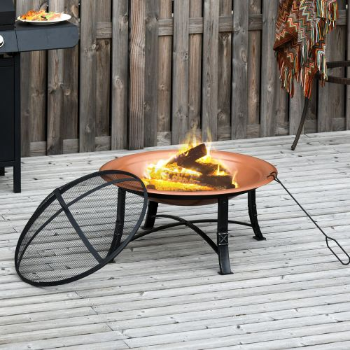 Elegant Firepit With Spark Screen Cover And Log Grate