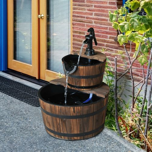2 Tier Cascading Barrel Waterfalls - Wooden