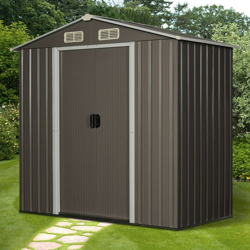 Corrugated Metal Frame Garden Shed With Sliding Door Grey Colour - 6x4FT