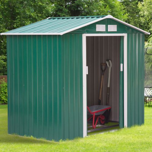 Metal Frame Garden Shed With Sliding Door Green Colour - 6x4FT