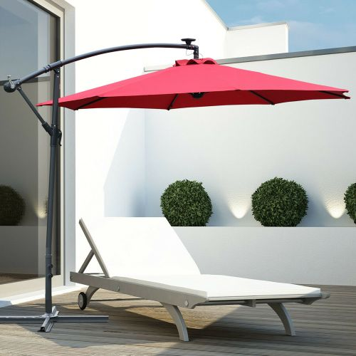 Banana Cantilever Garden Parasol With LED Lights - Wine Red