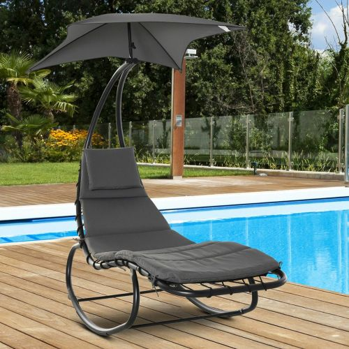 Rocking Sun Lounger With Canopy And Headrest - Grey