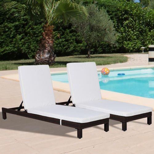 Rattan Wicker Adjustable Sun Lounger Set of 2 - Brown