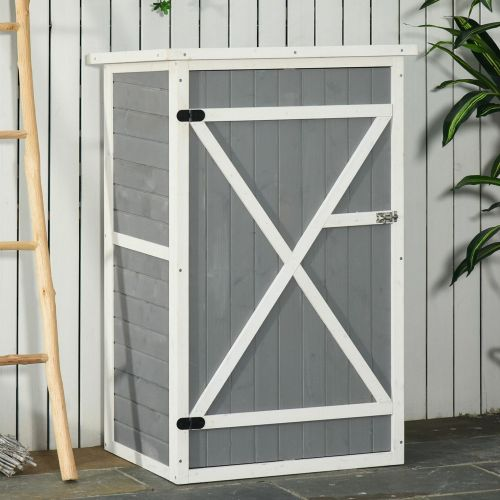 Fir Wooden Garden Shed With Latched Doors - Grey