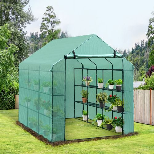 Garden Greenhouse Polytunnel With Shelves