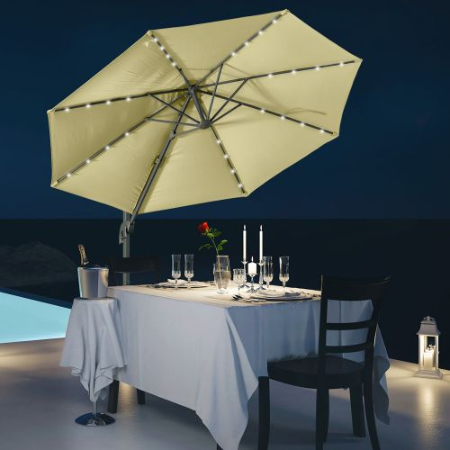 Cantilever Parasol With LED Solar Lights And Base Beige Colour - 3M