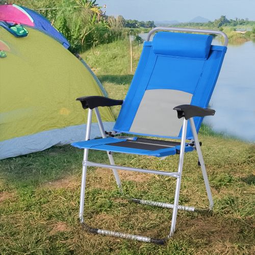 Foldable Reclining Garden Chair With Pillow - Blue