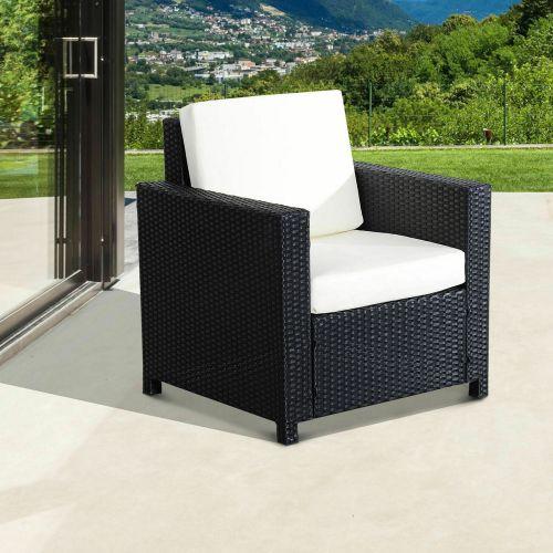 Rattan Wicker Single Cube Garden Chair - Black