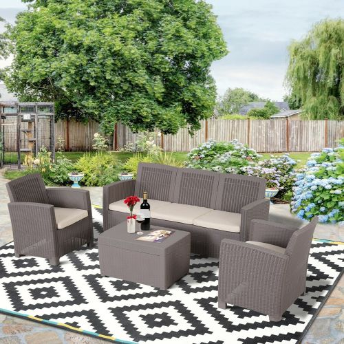 4 PCS Rattan Wicker Sectional Sofa Set With Cushioned- Grey