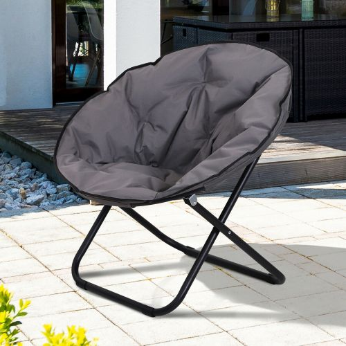 Foldable Round Padded Moon Chair - Grey