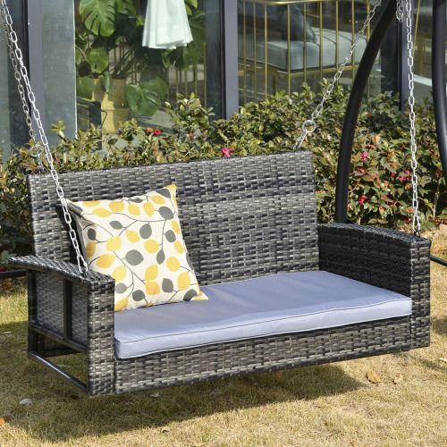 2 Seater Rattan Hanging Swing Chair With Padded Cushion - Mixed Grey