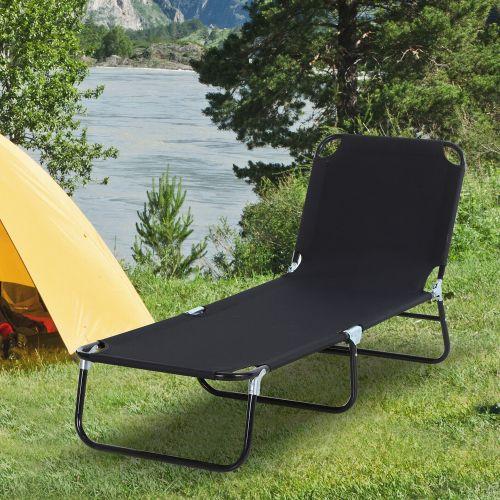 4 Position Foldable Sun Lounger - Black