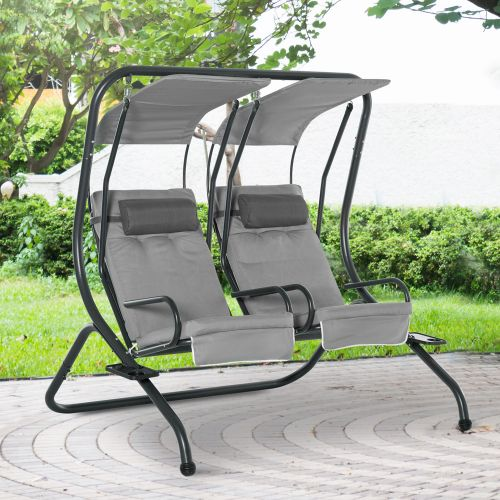 2 Separate Swing CHair with Removable Canopy - Grey