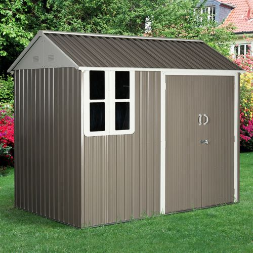 Corrugated Metal Frame Garden Shed With 2 Doors Sloped Roof - 8x6FT
