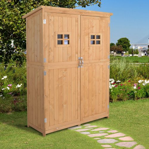 Wooden Effect Double Door Garden Shed With Slide Roof
