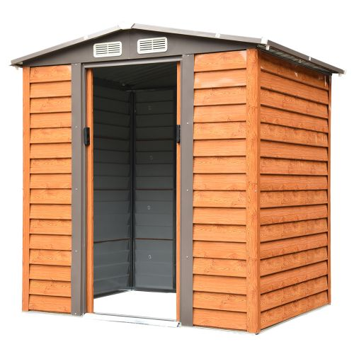 Wood Effect Garden Shed With Sliding Door - 6x5FT