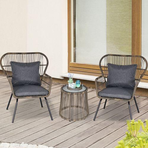 3 PCS Steel Legs PE Rattan Table Chair Set - Grey