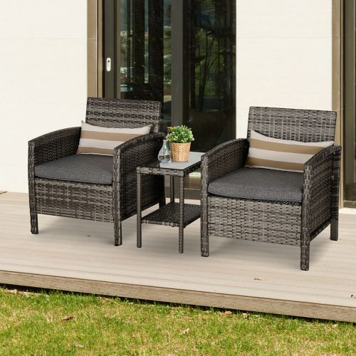3 PCs PE Rattan Garden Table Chair Set With 2 Cushions - Grey