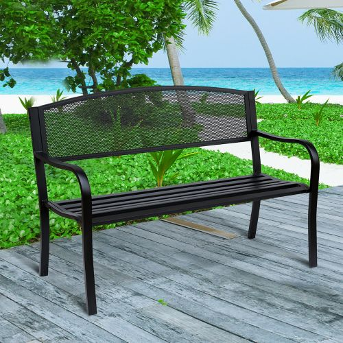 Metal Frame 2 Seater Garden Bench - Black