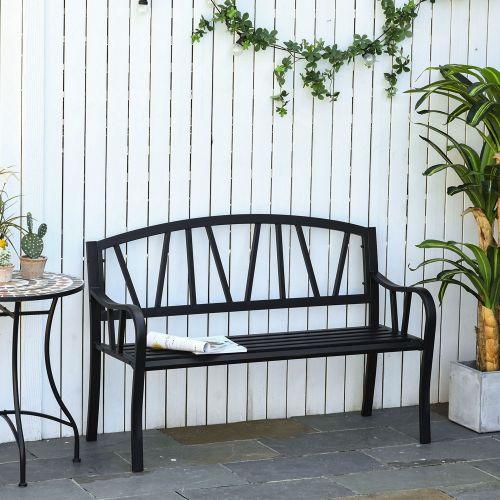 Metal Frame 2 Seater Garden Bench With Ergonomic Armrest - Black
