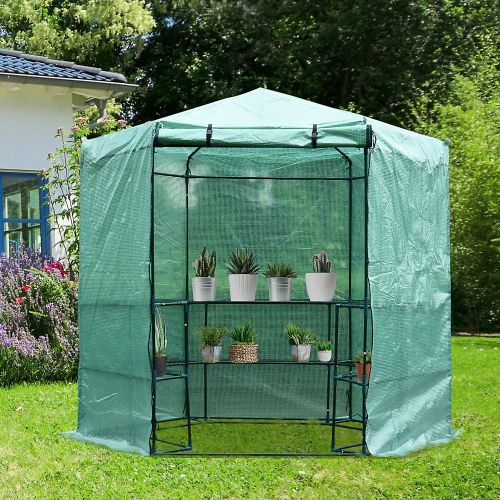 3 Tier Hexagon Greenhouse Polytunnels