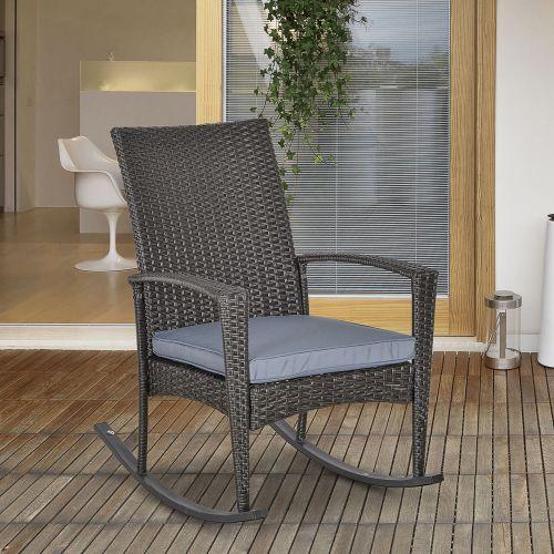Rattan Wicker Garden Rocking Chair - Grey