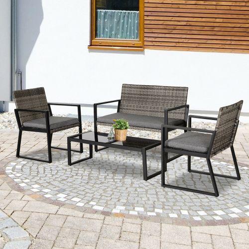 4 Piece PE Rattan Wicker Deluxe Table Chair Set - Grey