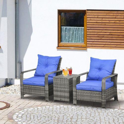 3 PIECE PE Rattan Garden Table Chair Set - Mixed Grey