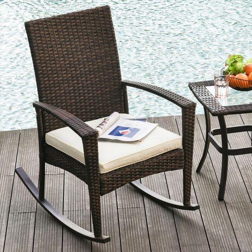 Rattan Wicker Bistro Garden Rocking Chair With Cushion - Brown