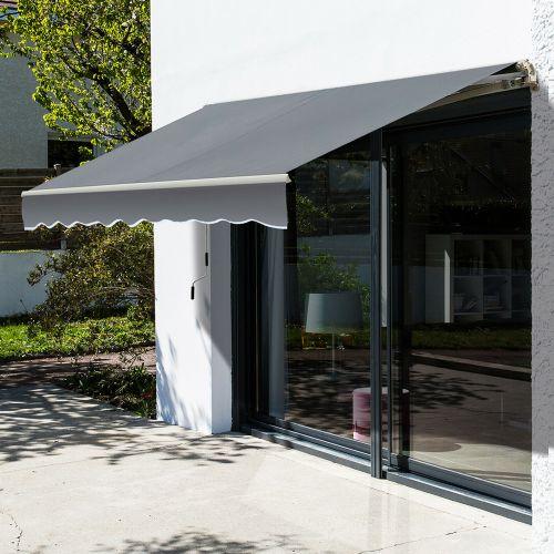 Retractable Manual Garden Awning Grey Colour - 2.5x2M